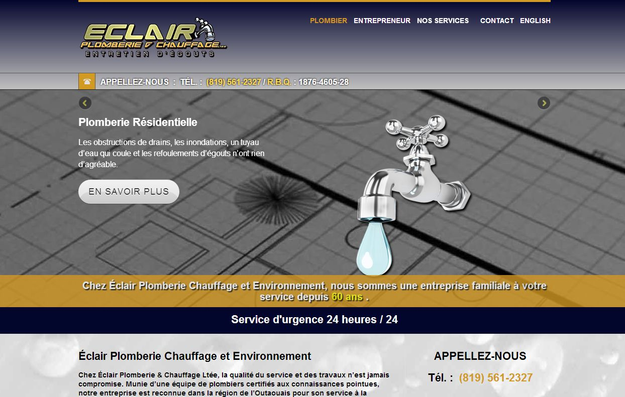 eclair plomberie - plombier gatineau